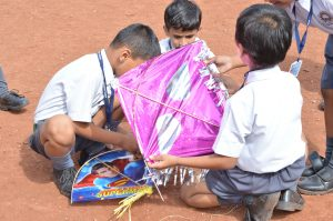Kite Flying by Std I – On account of Nagpanchami