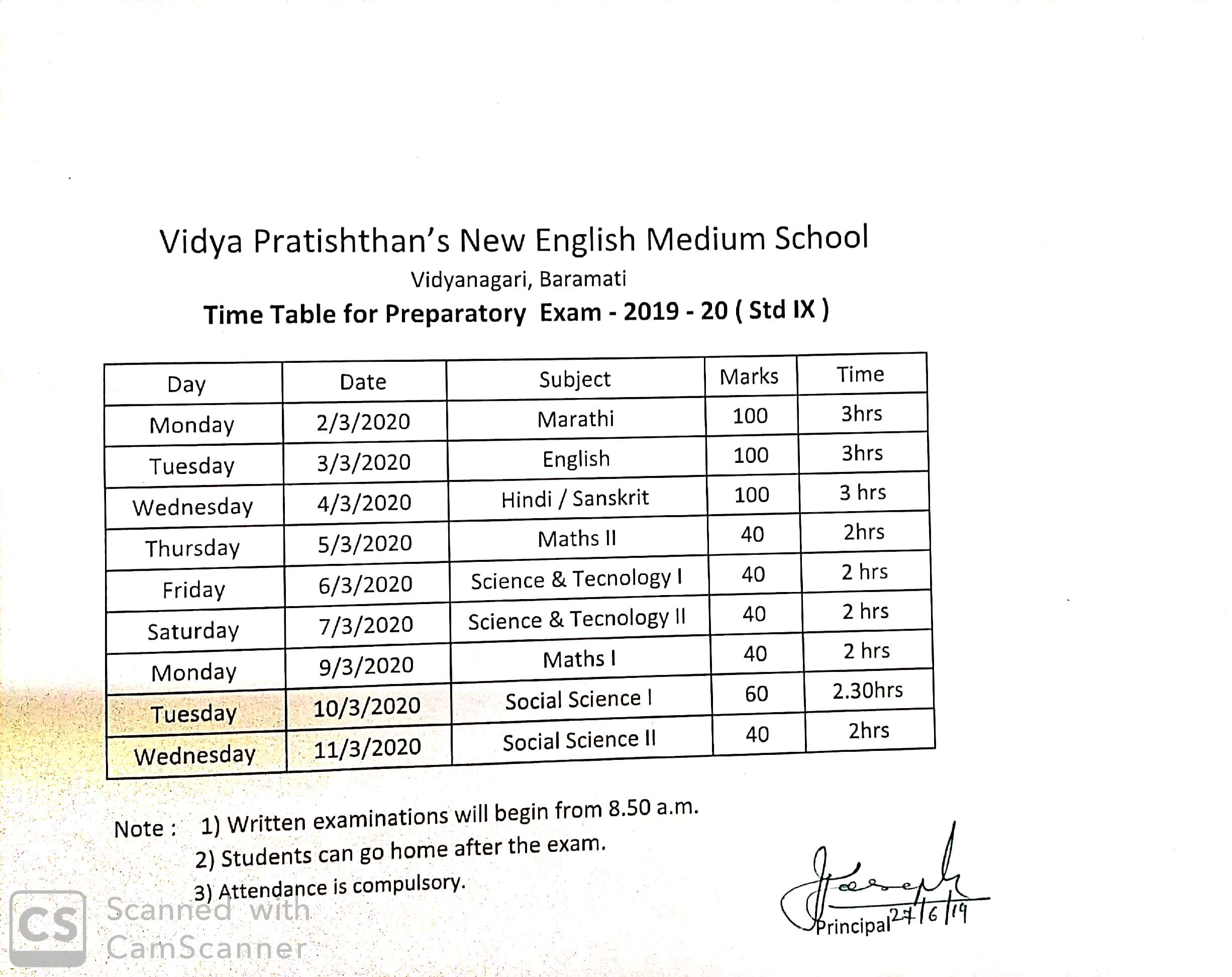 Exam Time Tables 2019-20 – VIDYA PRATISHTHANS NEW ENGLISH